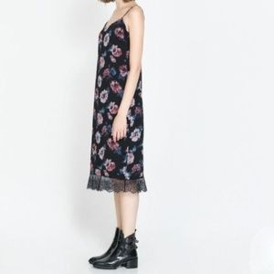 ZARA Floral Lace Trim Midi Slip Dress